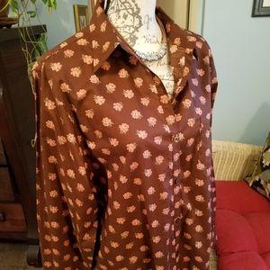 Ralph Lauren classic brown print blouse